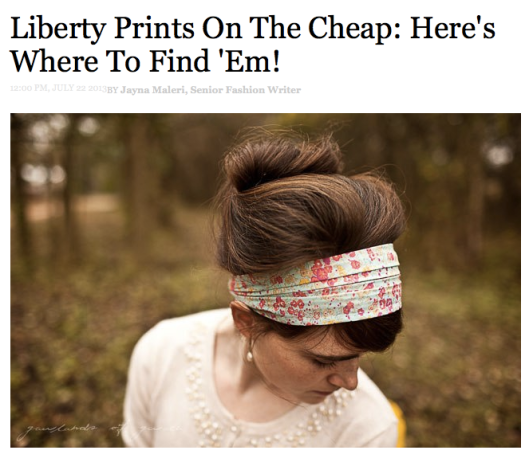 Check out our gorgeous vintage Liberty print dress, spotted by Lucky Mag!