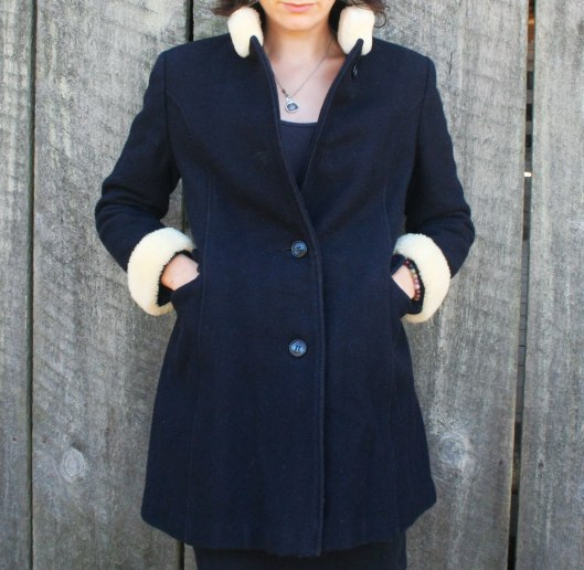 Vintage 60's Black Wool Coat with Shearling Cuffs