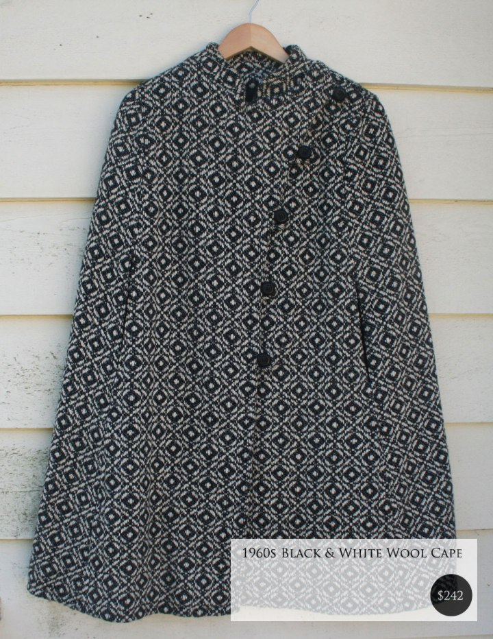Vintage 1960s Black & White Wool Cape - Fox and Rook