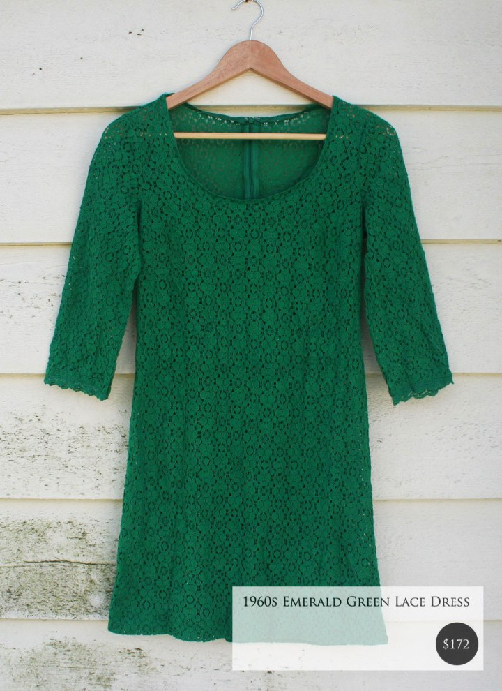 Fox and Rook Vintage Green Lace Dress
