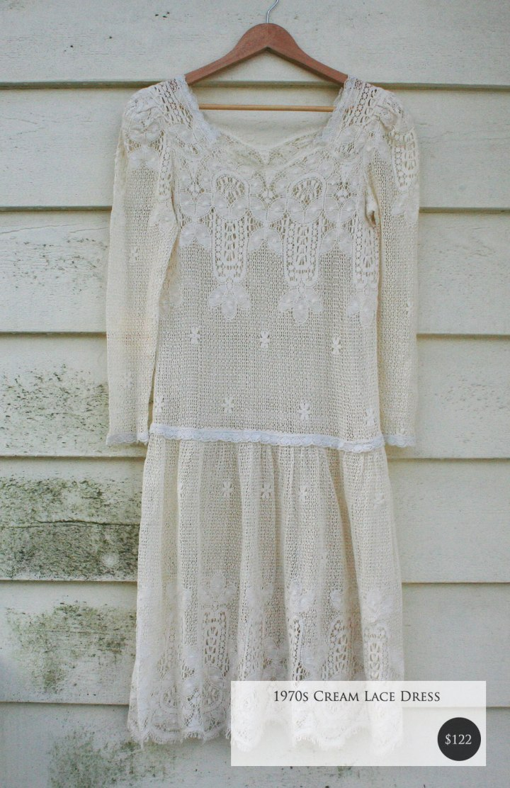 Fox and Rook Vintage Cream Lace Dress